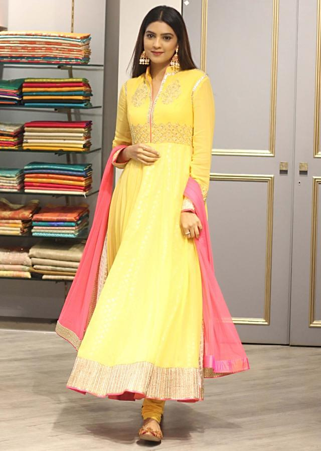 Yellow double layer anarkali suit in gotta patch embroidery only on Kalki