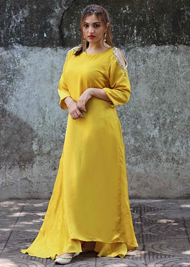Amber yellow long kurti with embroidered cold shoulder only on Kalki