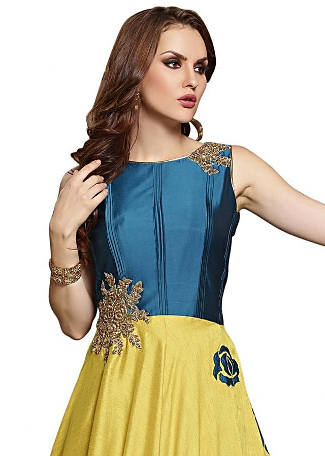 Yellow and teal blue anarkali suit in applique work only on Kalki