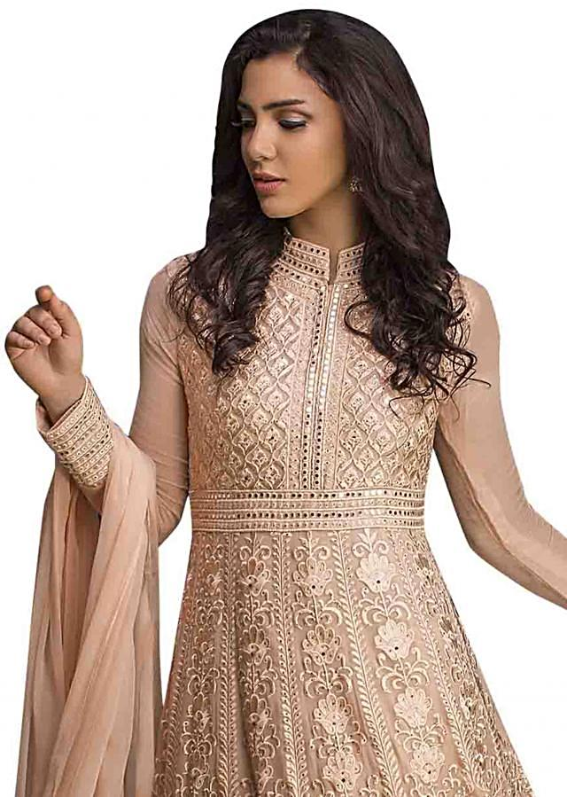 Rose peach anarkali suit in resham and kundan work all over