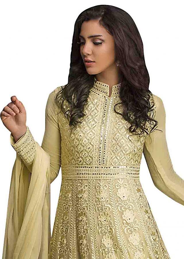 Lime yellow anarkali suit in resham and kundan work all over