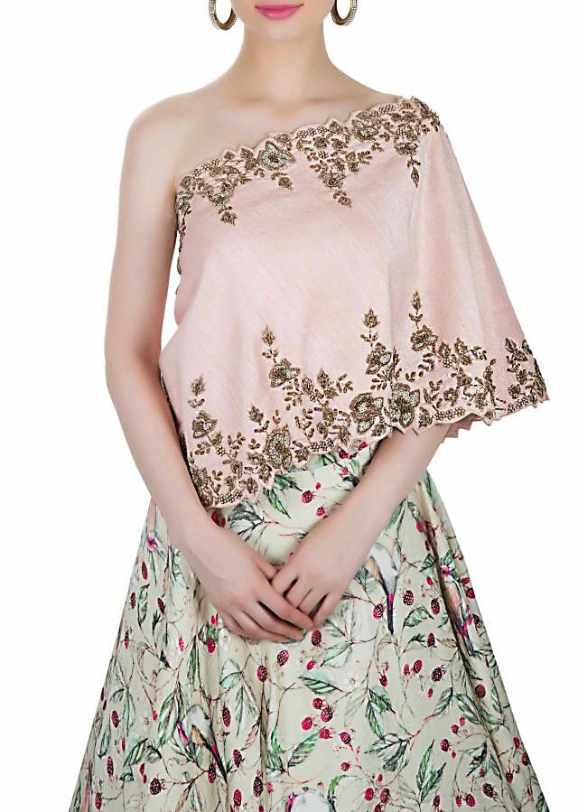 Pink and Cream Dupion Silk Top and Printed Cotton Skirt Ensemble Adorned with Floral Zardosi Work only on Kalki