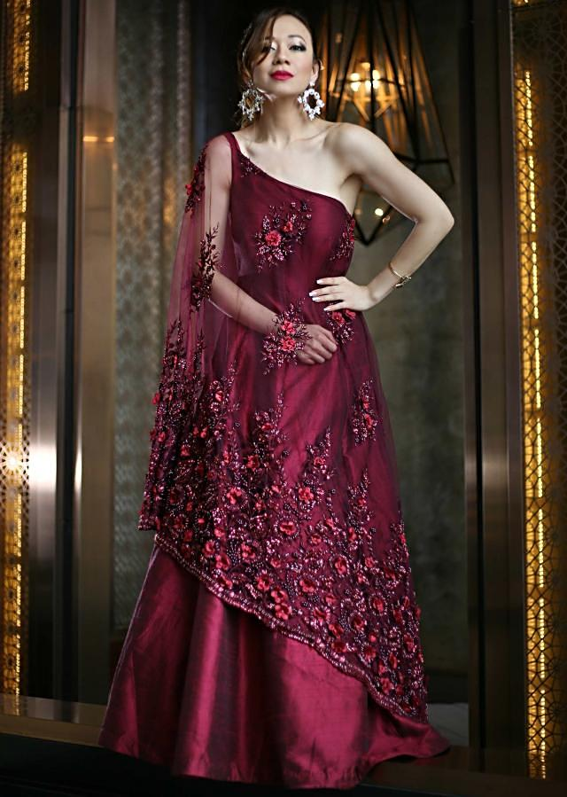Plum pink gown in fancy embroidered cape with shoulder drop only on Kalki
