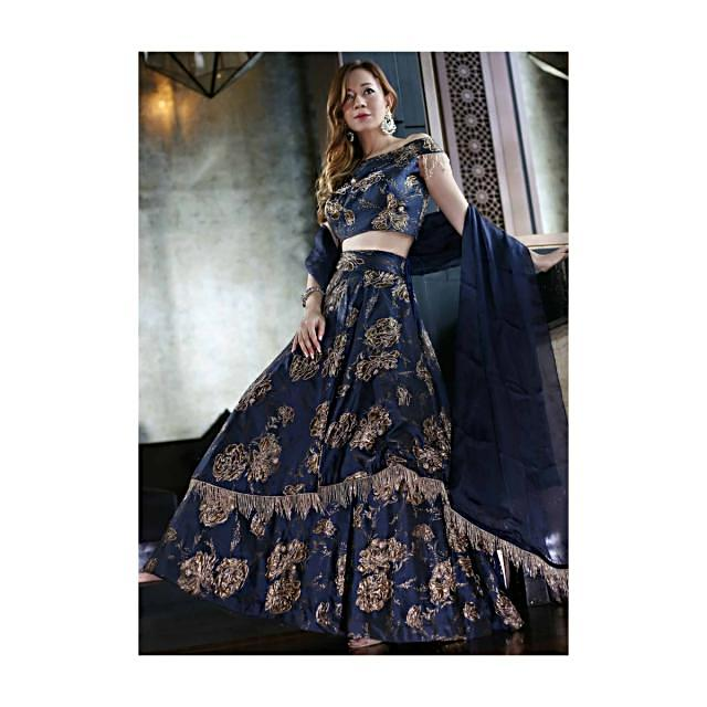 Navy Blue Silk Top, Dupatta and Skirt Featuring Foil Print, Embroidered Butti and Tassels only on Kalki