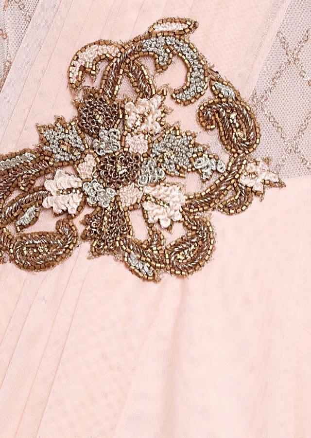 Cream Pink Georgette and Net Saree Gown Studded with Resham and Zardosi Work only on Kalki