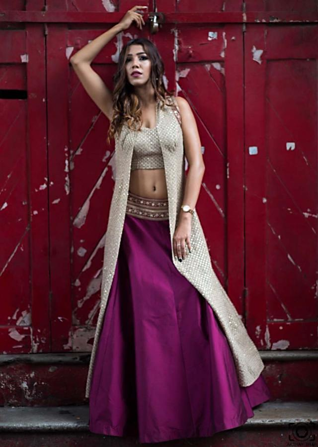 Purple lehenga in taffeta silk with thread embroidered jacket and crop top only on Kalki