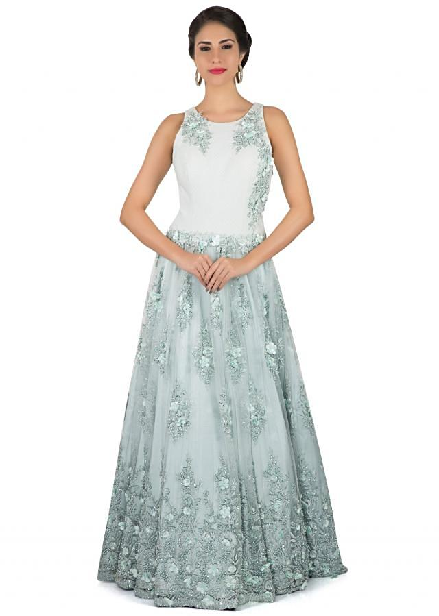Light Off white grey gown in motif and 3D flower embroidery only on Kalki