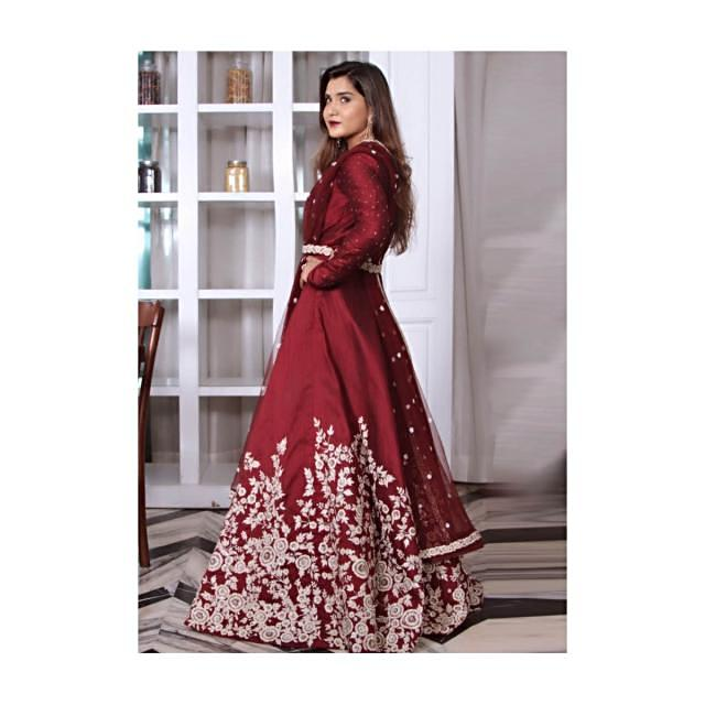 Anarkali suit in maroon raw silk with embroidered belt only on Kalki