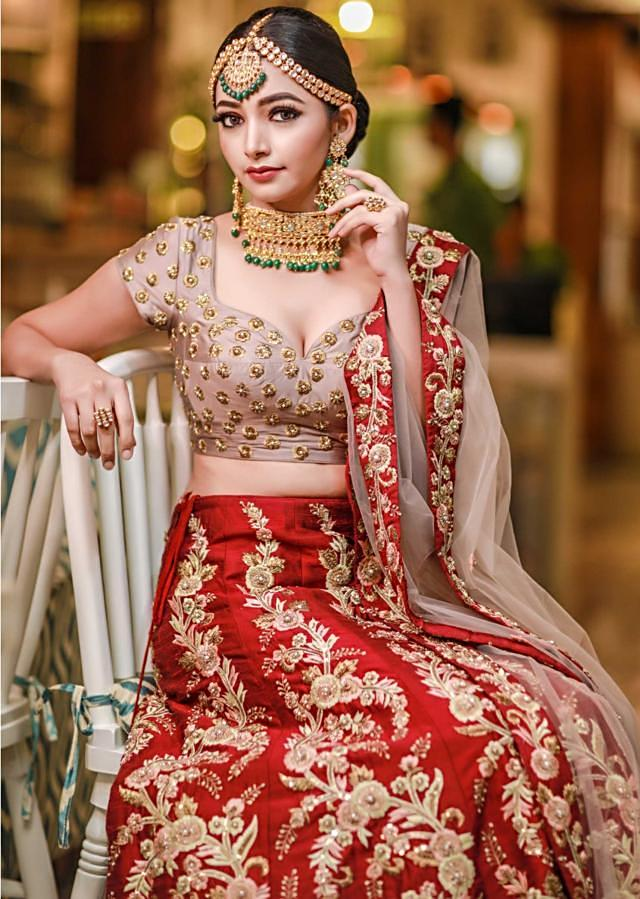 Maroon lehenga in silk matched with grey contrast blouse only on Kalki