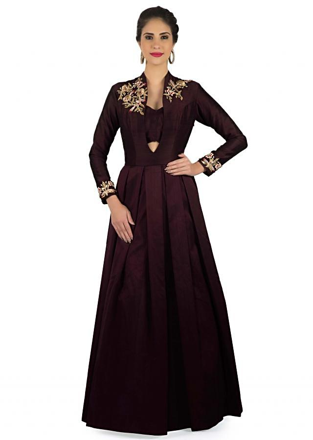 Burgundy gown with embroidered shoulder in zari embroidery only on Kalki