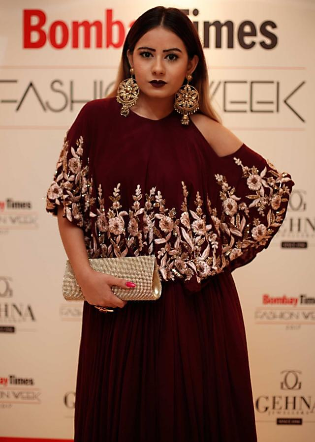 Wine dress in georgette with embroidered cape and cold shoulder only on Kalki