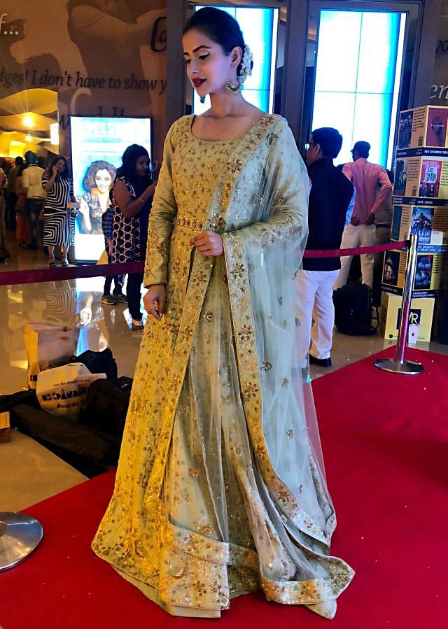 Subha Rajput in Kalki green anarkali suit embellished in cut dana and sequin embroidery