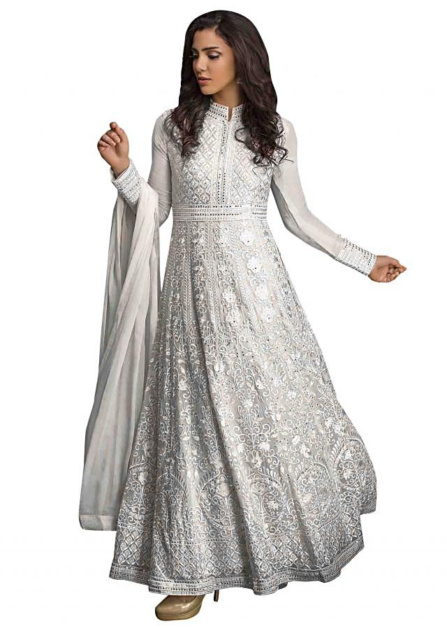 Snow white anarkali suit in resham and kundan work all over