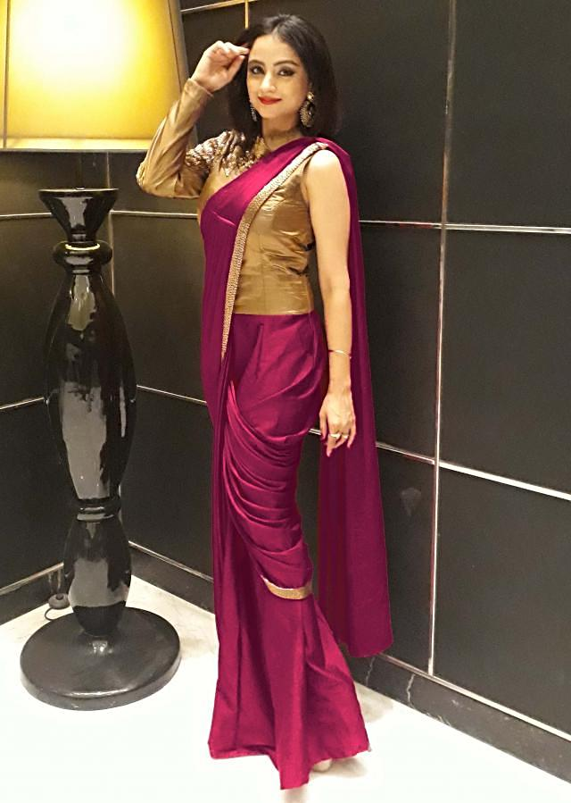 Purple saree gown with pre stitched pleats and cut dana embroidered bodice only on Kalki