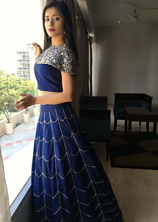 Vaishali Takker in Kalki royal blue lehenga matched with fancy crop top