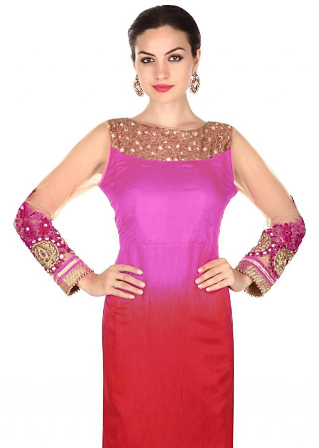 Red and purple shaded suit adorn in mirror and sequin
