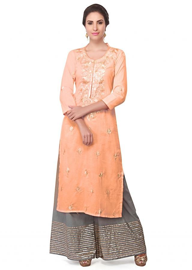 Peach straight suit in cotton silk with embroidered placket only on Kalki