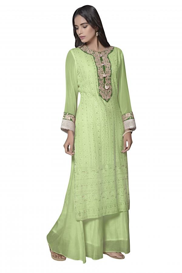 A line kurti in green lucknowi thread embroidery