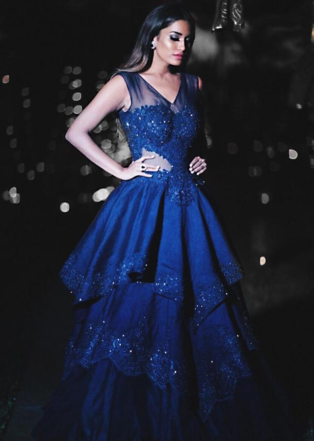 Pryanca Talukdar in Kalki navy blue layered gown with embroidered bodice