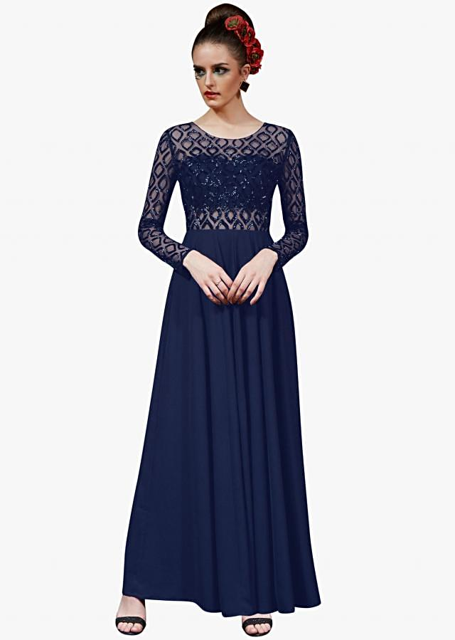 Navy blue crepe gown embellished in sequin embroidery work