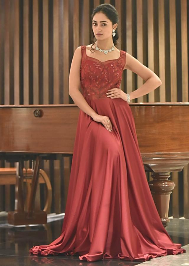 Tridha Choudhury in Kalki maroon gown in satin silk with embroidered bodice