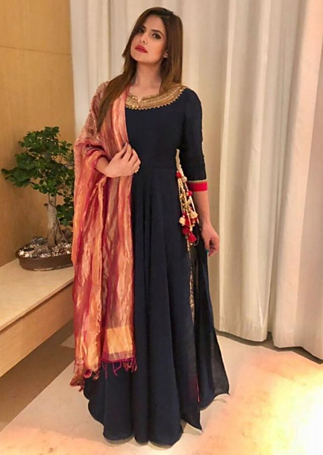 Zareen Khan in Kalki navy blue anarkali suit with embroidered neck and brocade kali
