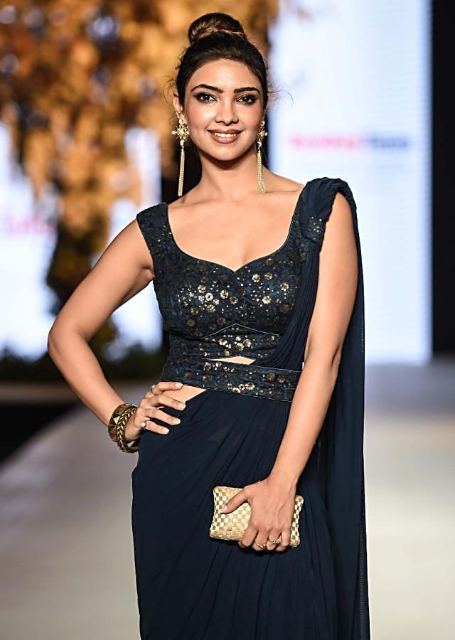 Pooja Banerjee in Kalki Navy blue ready stitched saree with a embroidered blouse in sequin embroidery work