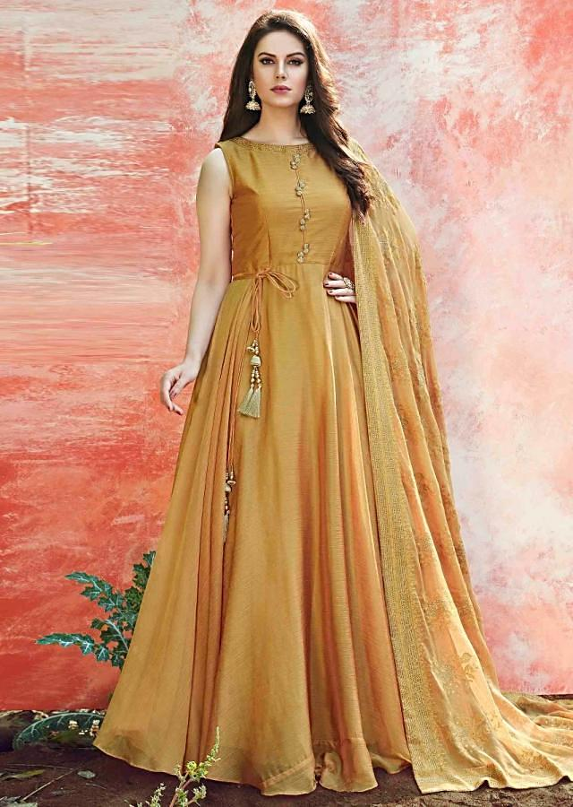 Mustard anarkali suit with kundan embroidery work only on Kalki