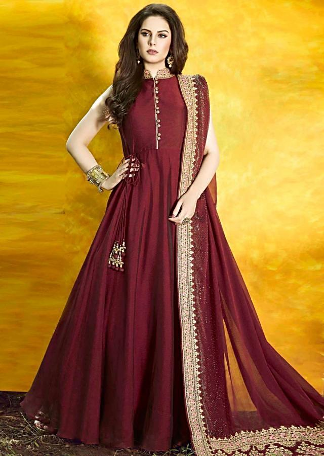 Maroon anarkali suit with resham and zari embroidery work only on Kalki