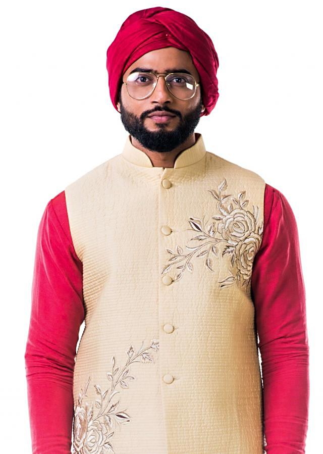 Off-white quilted jacket with thread work embroidery only on Kalki