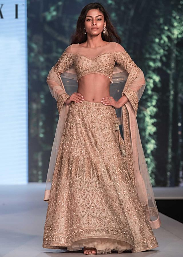English peach lehenga set adorn in gotta patch and zardosi embroidery only on Kalki