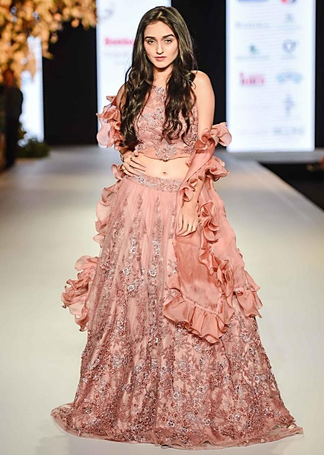 Mauve Embroidered Net Lehenga Blouse and Organza Dupatta Set Only on Kalki