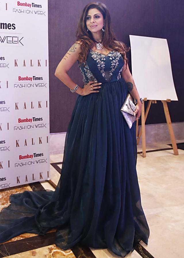 Dark Blue Organza Floor Length Gown Designed with Cut Dana and Beads Only on Kalki