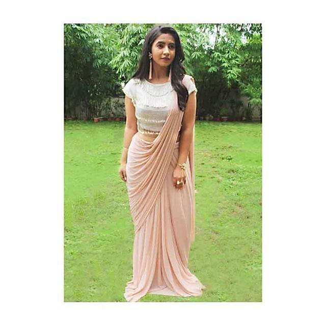 Light Peach Pre-Stitchid Saree With Crop Top Blouse only on kalki