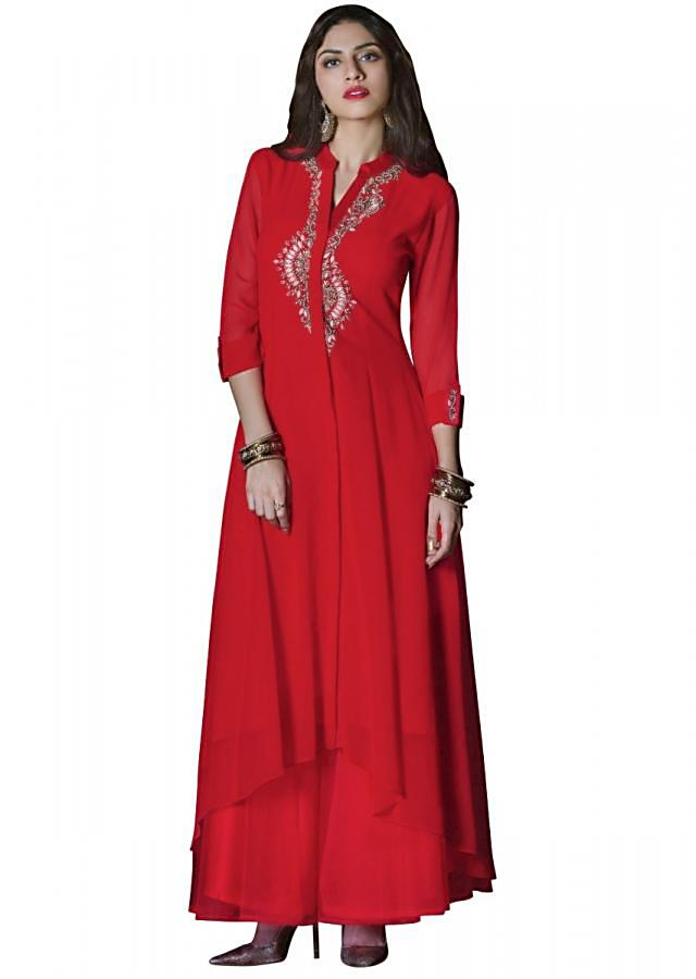 Cherry red fancy kurti with resham and kundan embellished placket