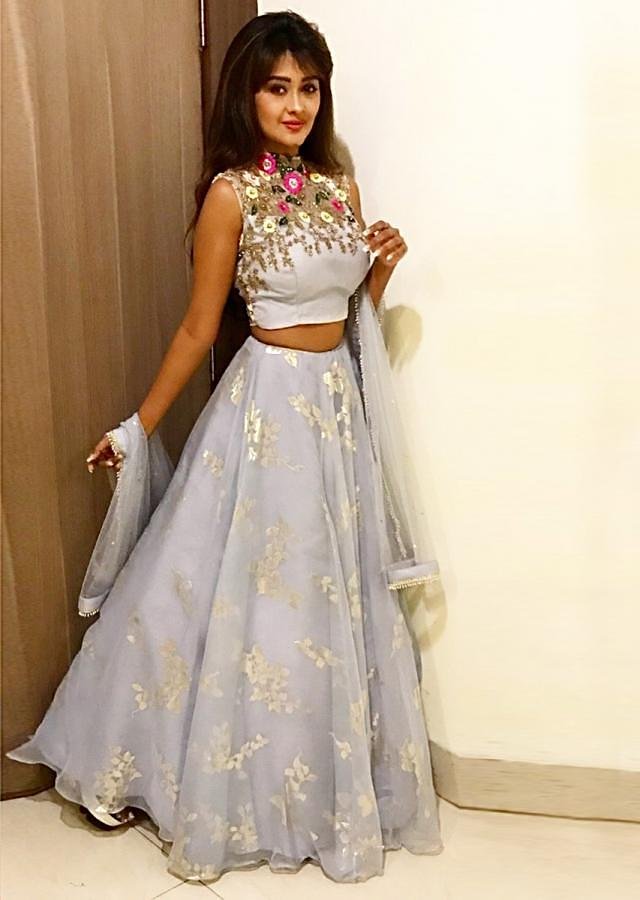 Blue Lehenga In Organza Paired With An Embroidered Net Blouse And Net Dupatta Online - Kalki Fashion
