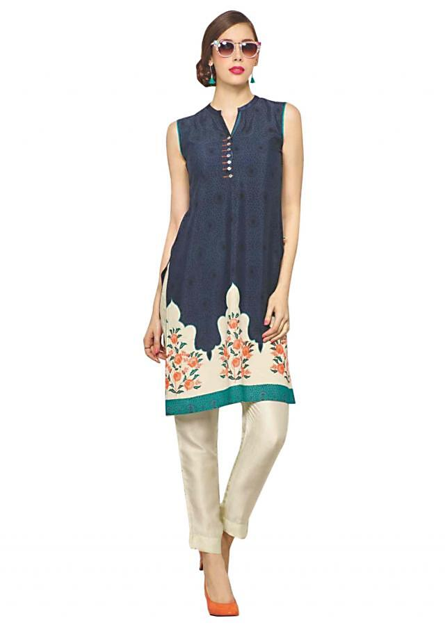 Navy blue kurti features with floral printed hem line