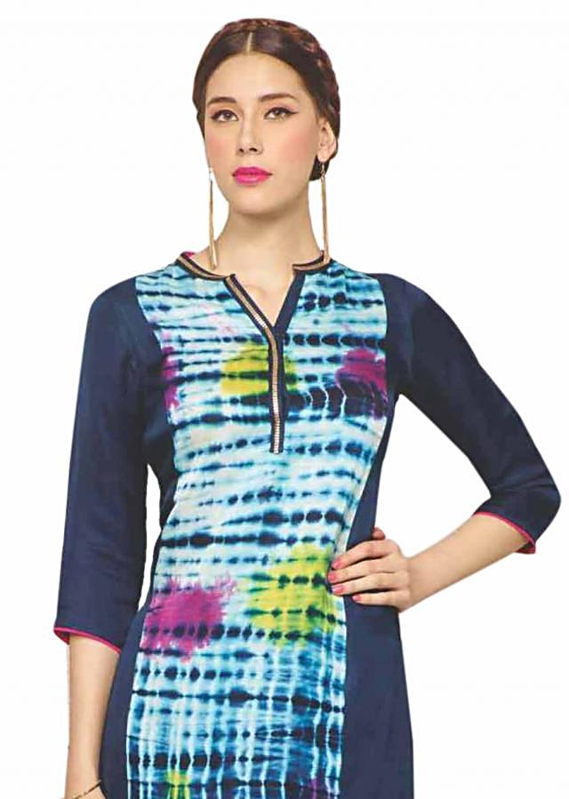 Navy blue kurti in princes line features with batik print