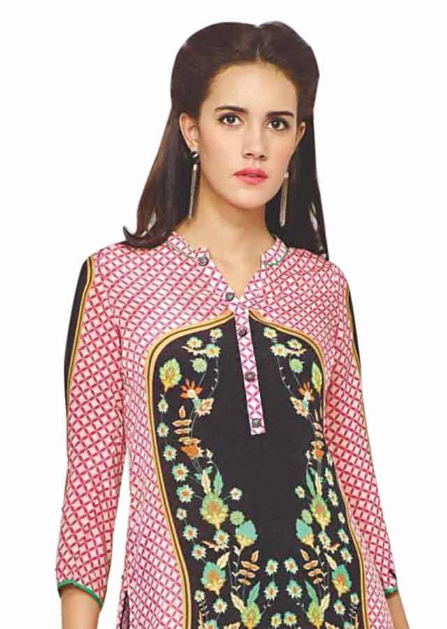 Pink and black kurti features with floral print only on Kalki