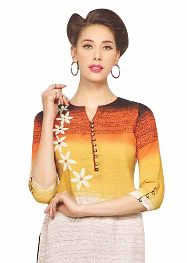 Shaded kurti in yellow and white with thread embroidery