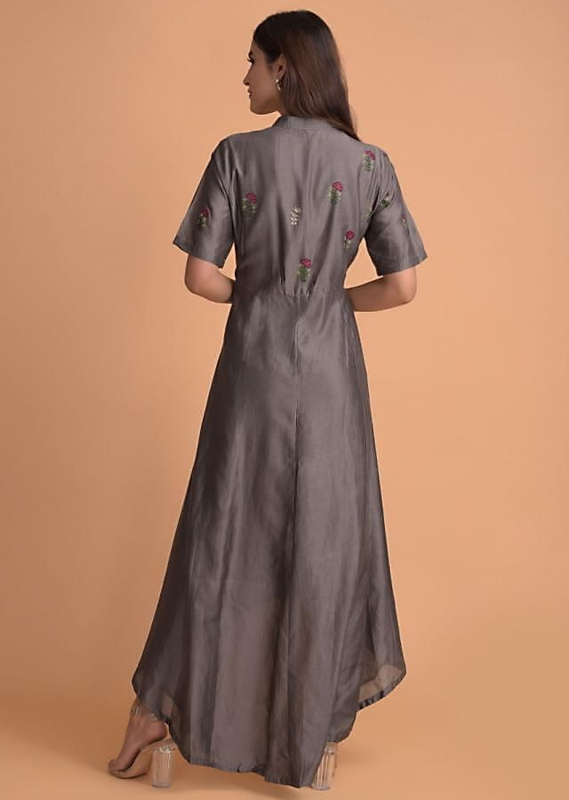 Ash Grey Tunic In Cotton With Embroidered Buttis And High Low Hem Online - Kalki Fashion