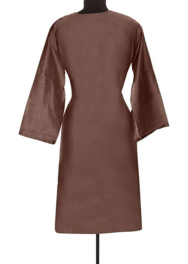 Brown kurti features with pin tucks only on Kalki