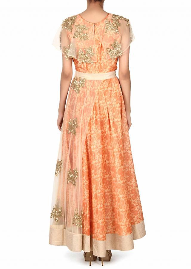 Cream dress with attach cape in kardana embroidery only on Kalki