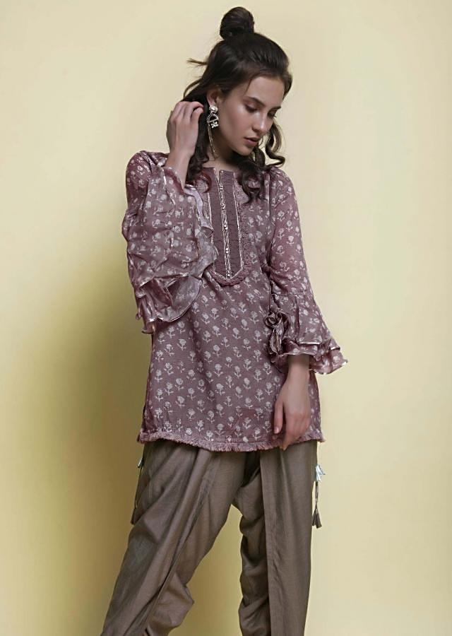 Mauve Grey Dhoti And Top In Block Print Online - Kalki Fashion