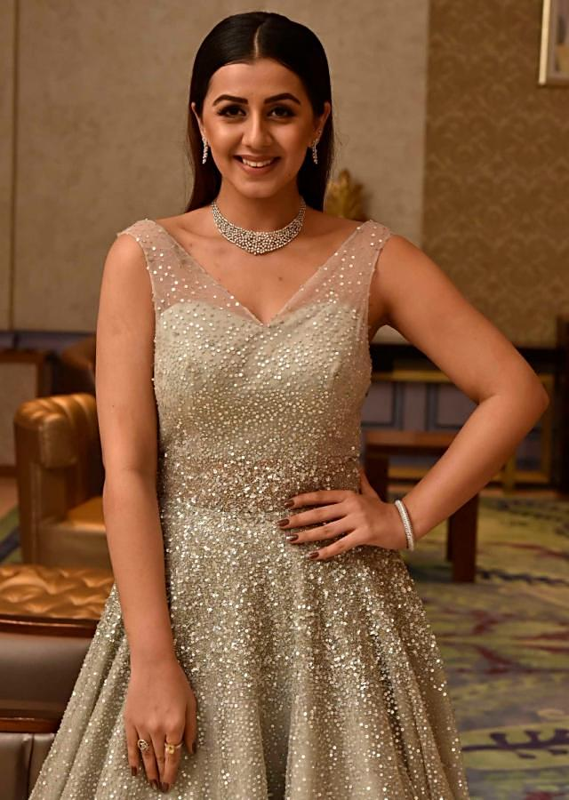 Grey Off Shoulder Gown In Sequin Net Highlighted In 3D Flower Embroidery Online - Kalki Fashion