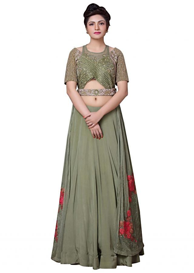 Moist green lehenga with sequin and resham embroidered jacket