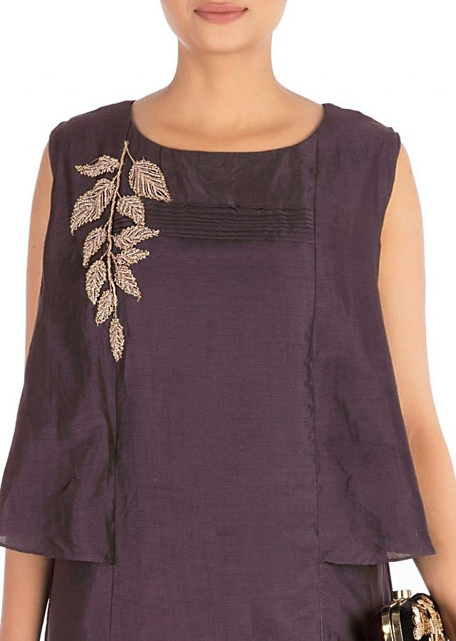 Hand Embroidered Slate Mauve Long Tunic