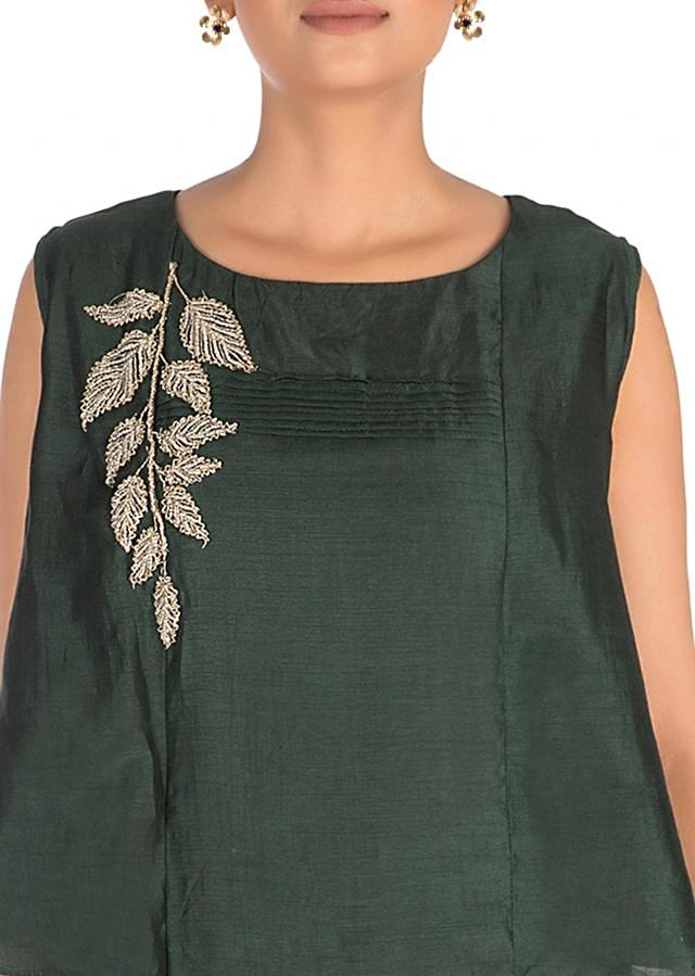 Hand Embroidered Slate olive green Long Tunic