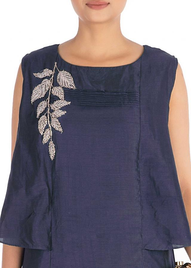 Hand Embroidered Steel Blue Long Tunic