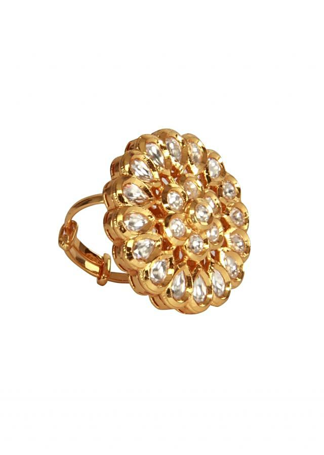 Kundan studed in gold plated finger ring by Ra Abta for Kalki
